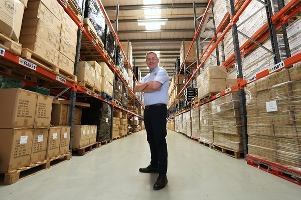 Steve Bray in SP Services warehouse