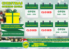 Christmas 2018 Opening Hours!