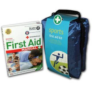 Sports First Aid Kit in Copenhagen Bag & First Aid Manual Bundle