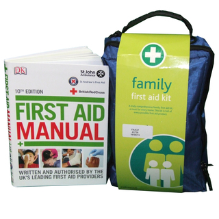 Family First Aid Kit in Copenhagen Bag & First Aid Manual Bundle