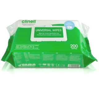 Clinell Universal Wipes - 200 Wipes Pack