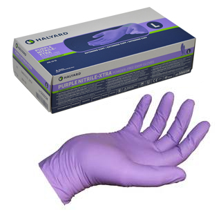 Halyard Purple Nitrile EMS Examination Gloves - 24cm - Box of 100