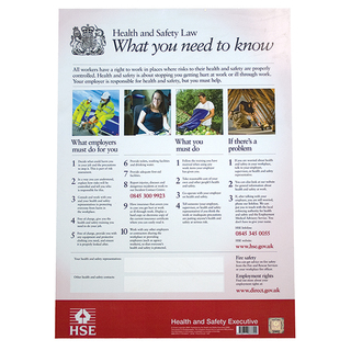 Health & Safety Law Poster - 2009 Rigid Plastic Design A2