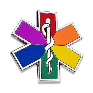 LGBT Rainbow Star of Life Lapel Badge with Pin