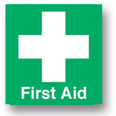 First Aid Sign - 95mm x 95mm - Green & White