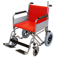 Heavy Duty Porter Wheelchair with Red Fabric