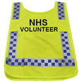 Hi-Vis Yellow Tabard printed with NHS VOLUNTEER
